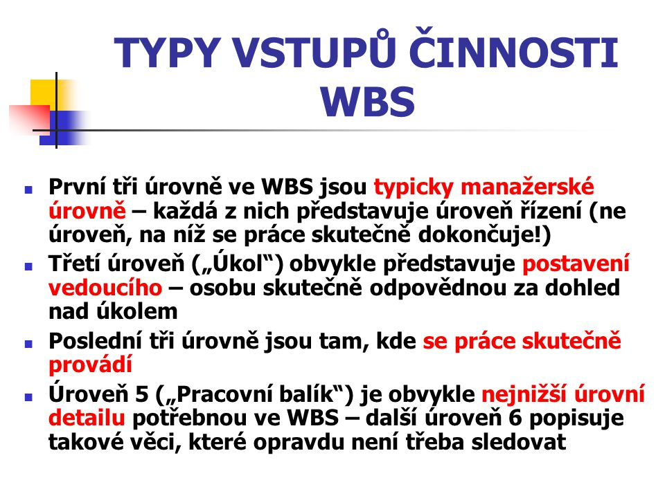 TYPY VSTUPŮ ČINNOSTI WBS