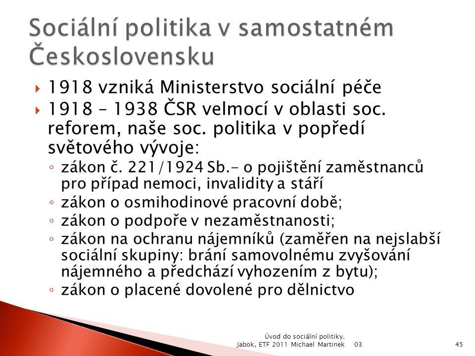 Sociální politika v samostatném Československu