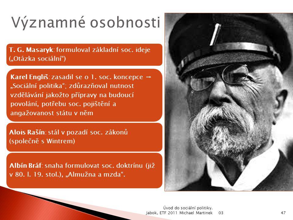 """Významné osobnosti T. G. Masaryk: formuloval základní soc. ideje (""""Otázka sociální )"""