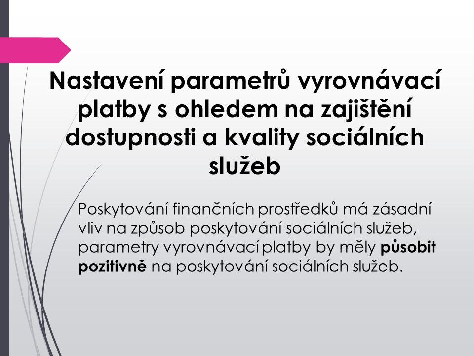 Nastavení parametrů vyrovnávací platby s ohledem na zajištění dostupnosti a kvality sociálních služeb