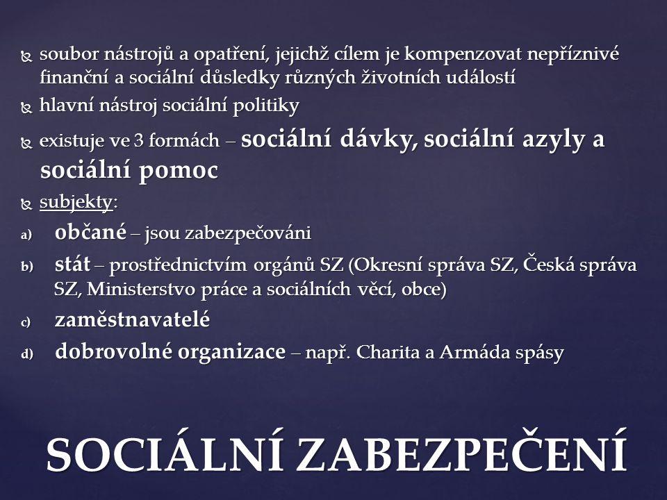 SOCIÁLNÍ ZABEZPEČENÍ občané – jsou zabezpečováni
