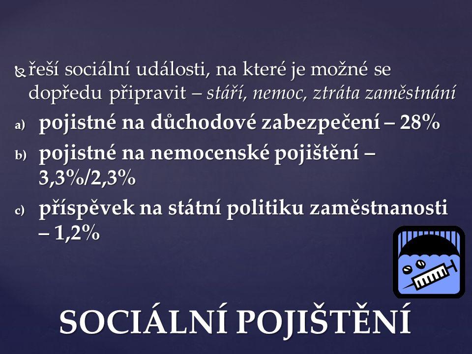 SOCIÁLNÍ POJIŠTĚNÍ pojistné na důchodové zabezpečení – 28%