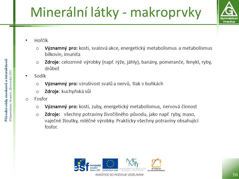 Minerální látky - makroprvky
