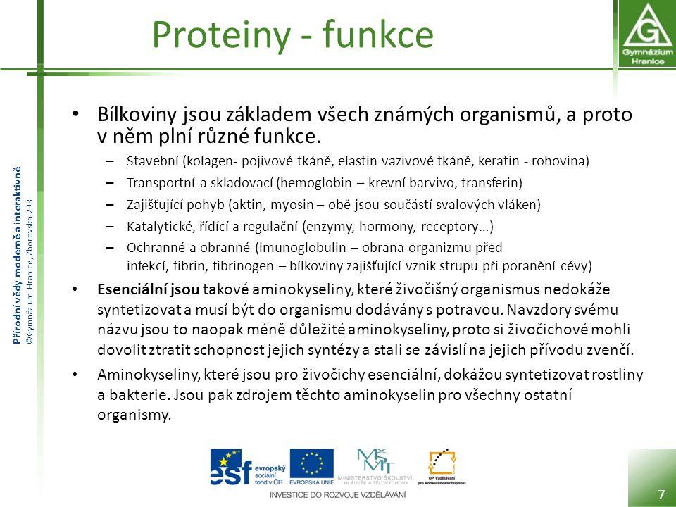 Proteiny - funkce Bílkoviny jsou základem všech známých organismů, a proto v něm plní různé funkce.
