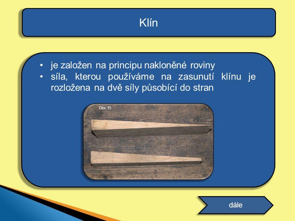 Klín je založen na principu nakloněné roviny
