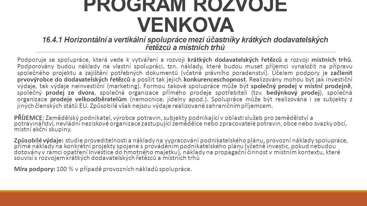 PROGRAM ROZVOJE VENKOVA 16. 4