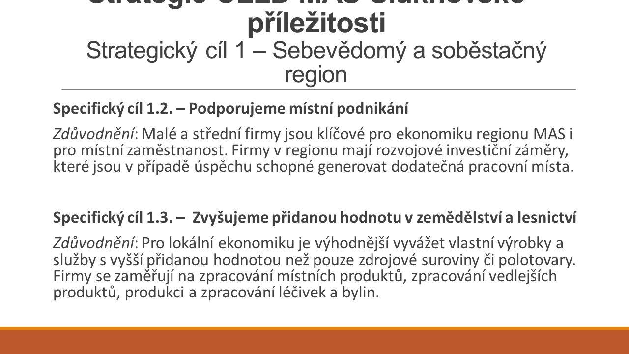 Strategie CLLD MAS Šluknovsko - příležitosti Strategický cíl 1 – Sebevědomý a soběstačný region