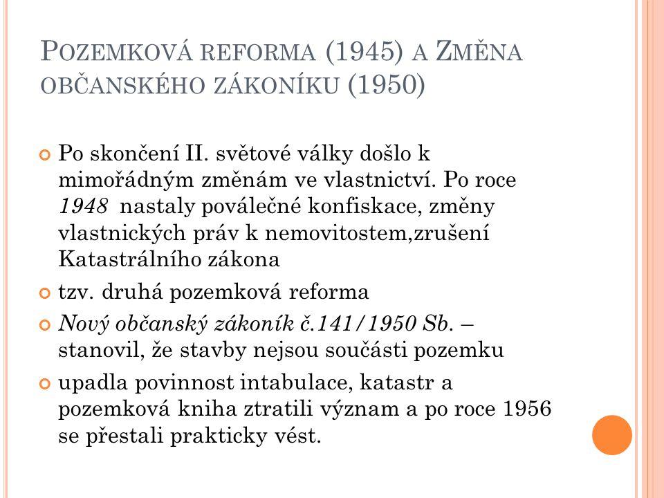Pozemková reforma (1945) a Změna občanského zákoníku (1950)