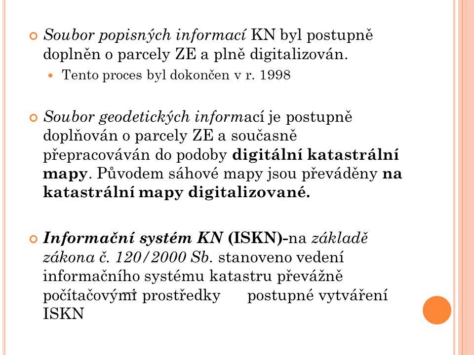 Soubor popisných informací KN byl postupně doplněn o parcely ZE a plně digitalizován.