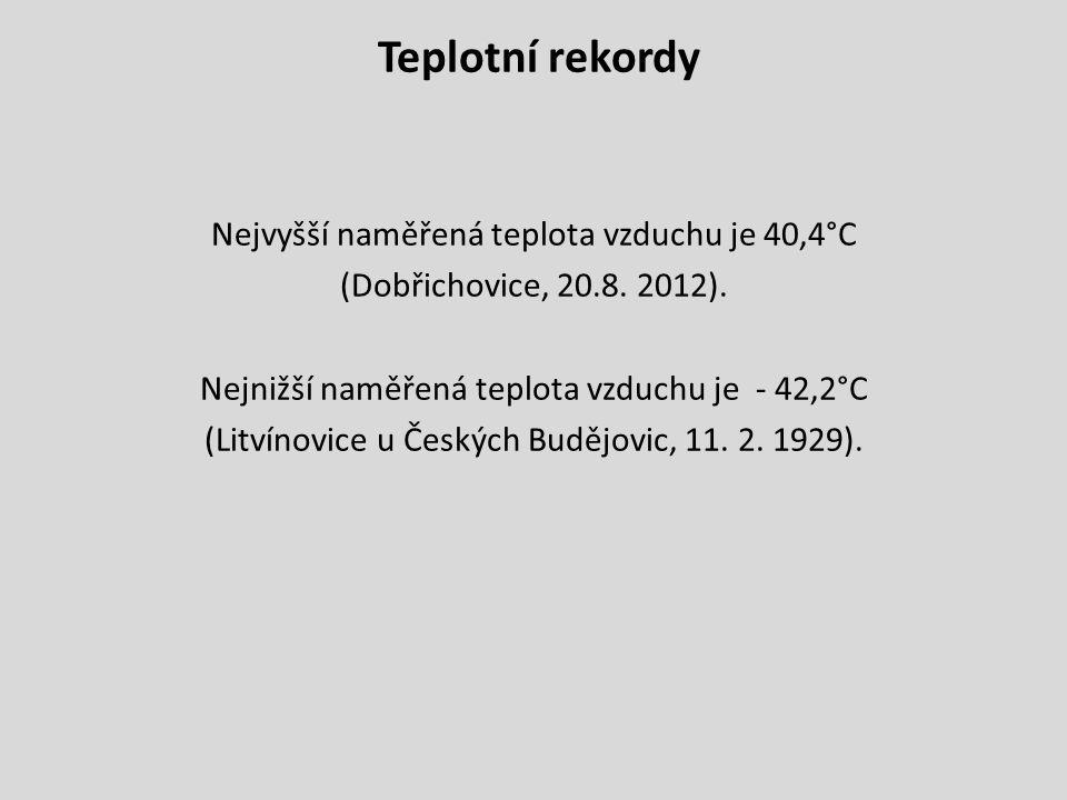 Teplotní rekordy Nejvyšší naměřená teplota vzduchu je 40,4°C