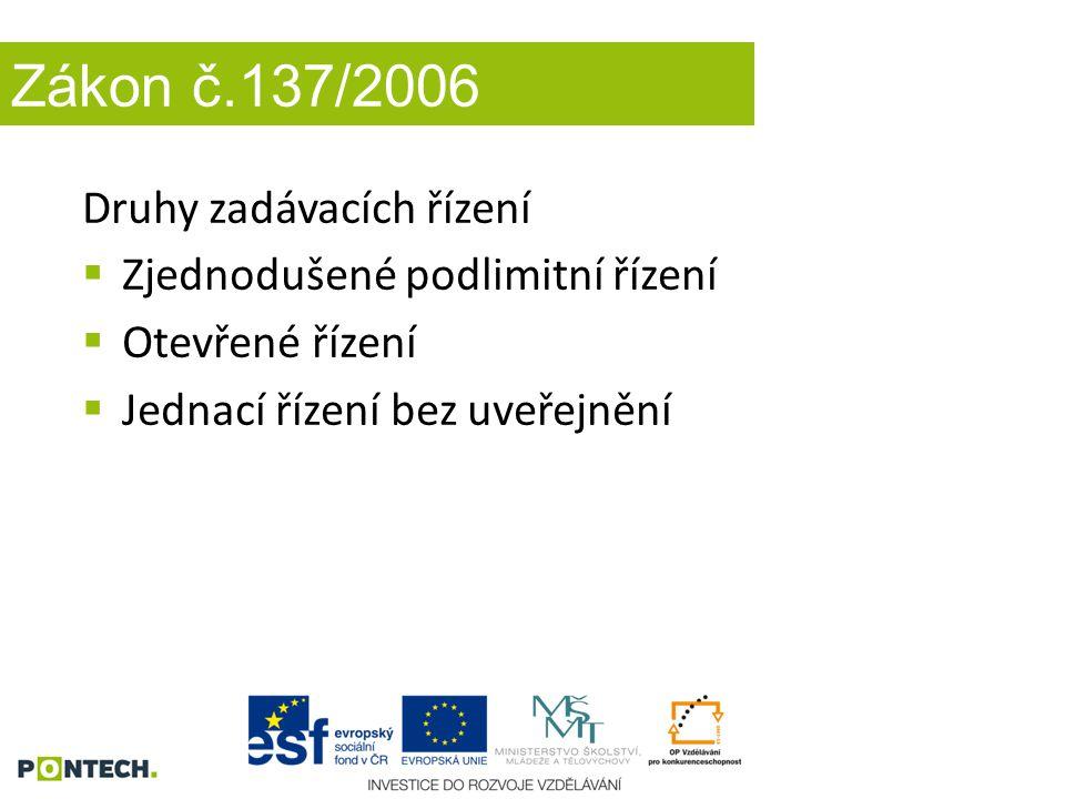 Zákon č.137/2006 Druhy zadávacích řízení