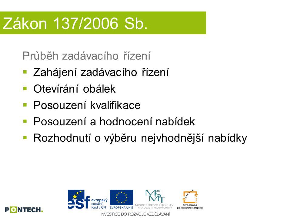 Zákon 137/2006 Sb. Průběh zadávacího řízení Zahájení zadávacího řízení