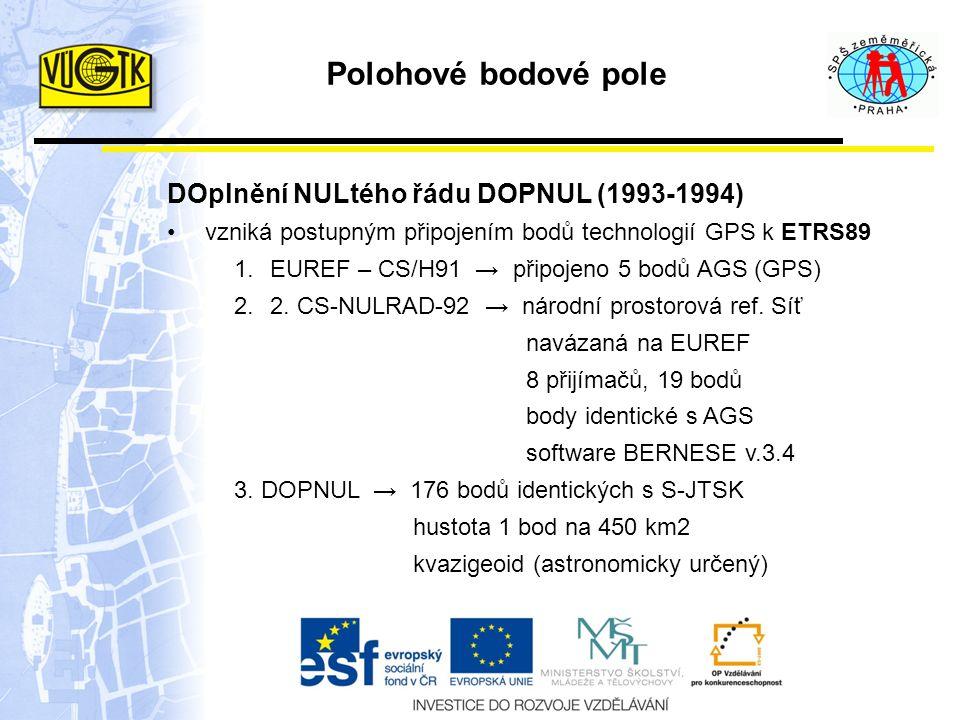 Polohové bodové pole DOplnění NULtého řádu DOPNUL (1993-1994)