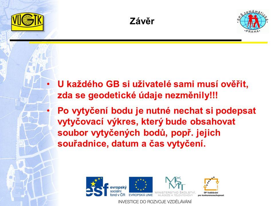 Závěr U každého GB si uživatelé sami musí ověřit, zda se geodetické údaje nezměnily!!!
