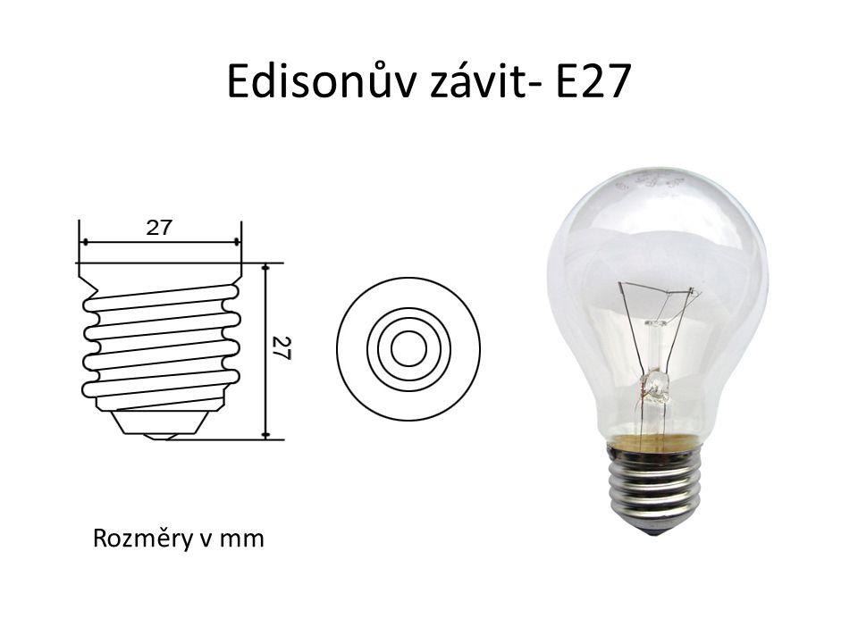 Edisonův závit- E27 Rozměry v mm