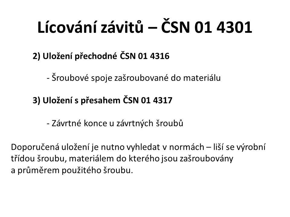 Lícování závitů – ČSN 01 4301 2) Uložení přechodné ČSN 01 4316