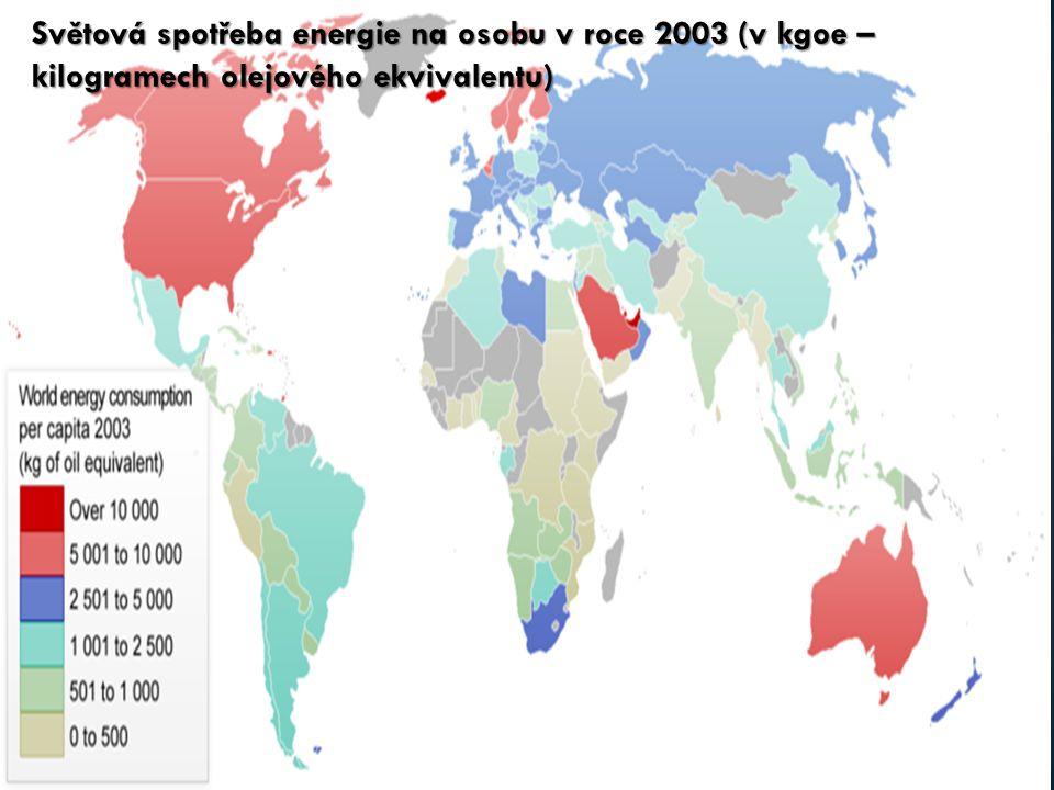 Světová spotřeba energie na osobu v roce 2003 (v kgoe – kilogramech olejového ekvivalentu)