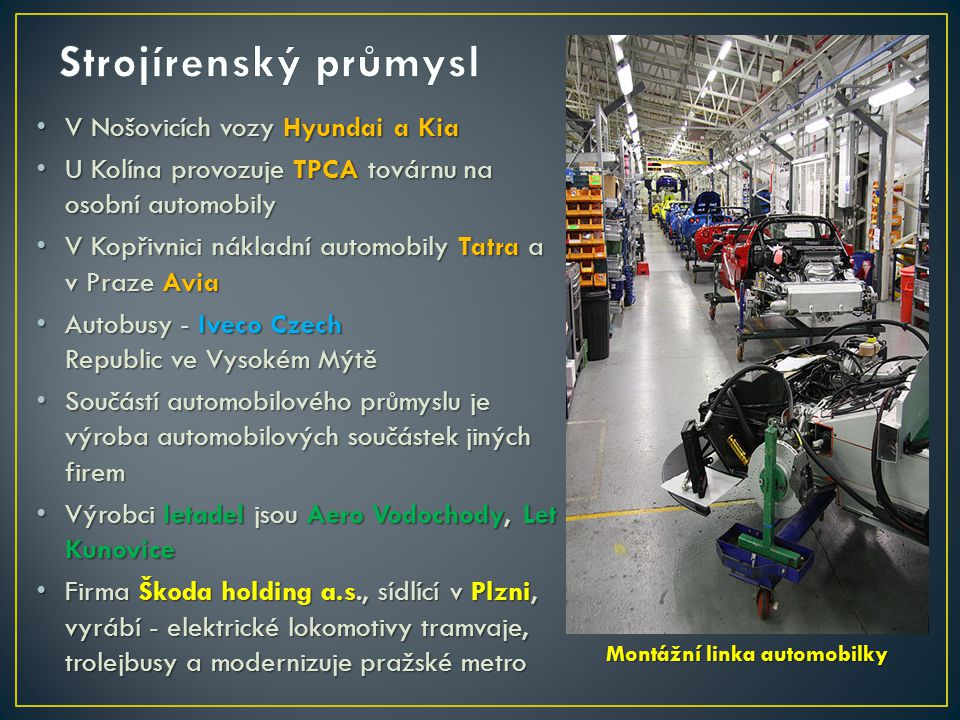 Strojírenský průmysl V Nošovicích vozy Hyundai a Kia