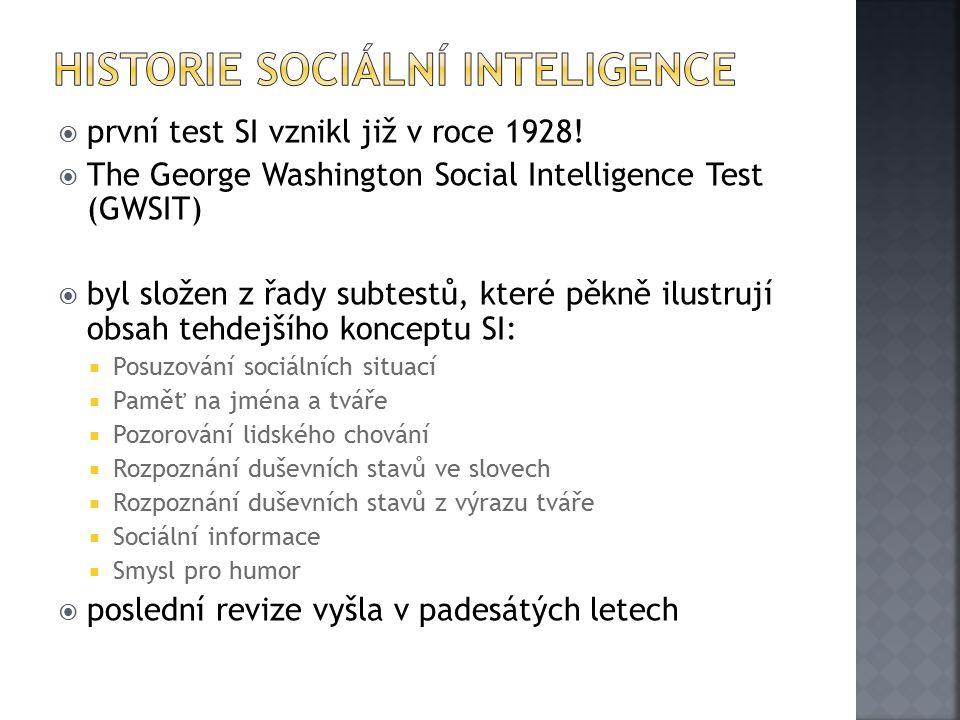 Historie Sociální inteligence