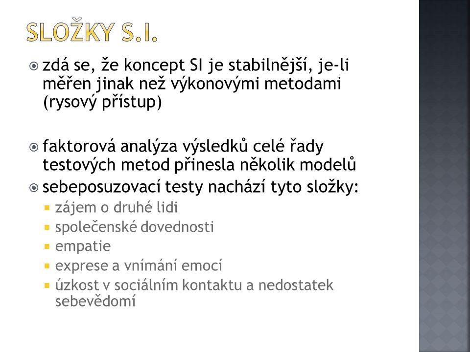 Složky S.I. zdá se, že koncept SI je stabilnější, je-li měřen jinak než výkonovými metodami (rysový přístup)