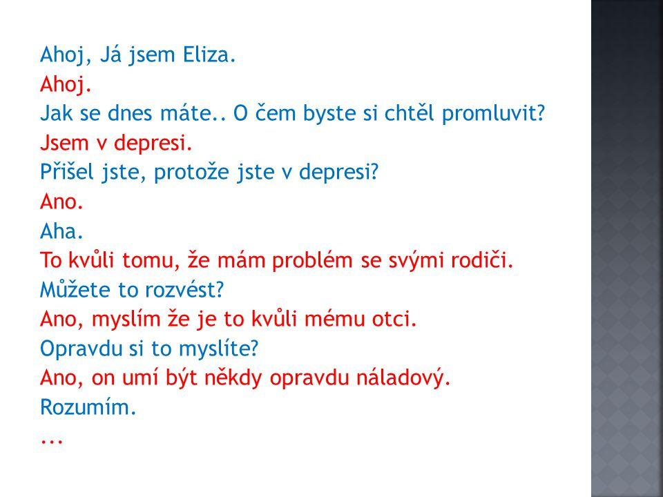 Ahoj, Já jsem Eliza. Ahoj. Jak se dnes máte