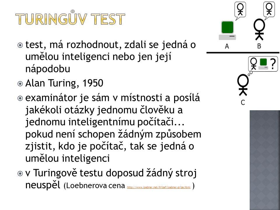Turingův test test, má rozhodnout, zdali se jedná o umělou inteligenci nebo jen její nápodobu. Alan Turing, 1950.