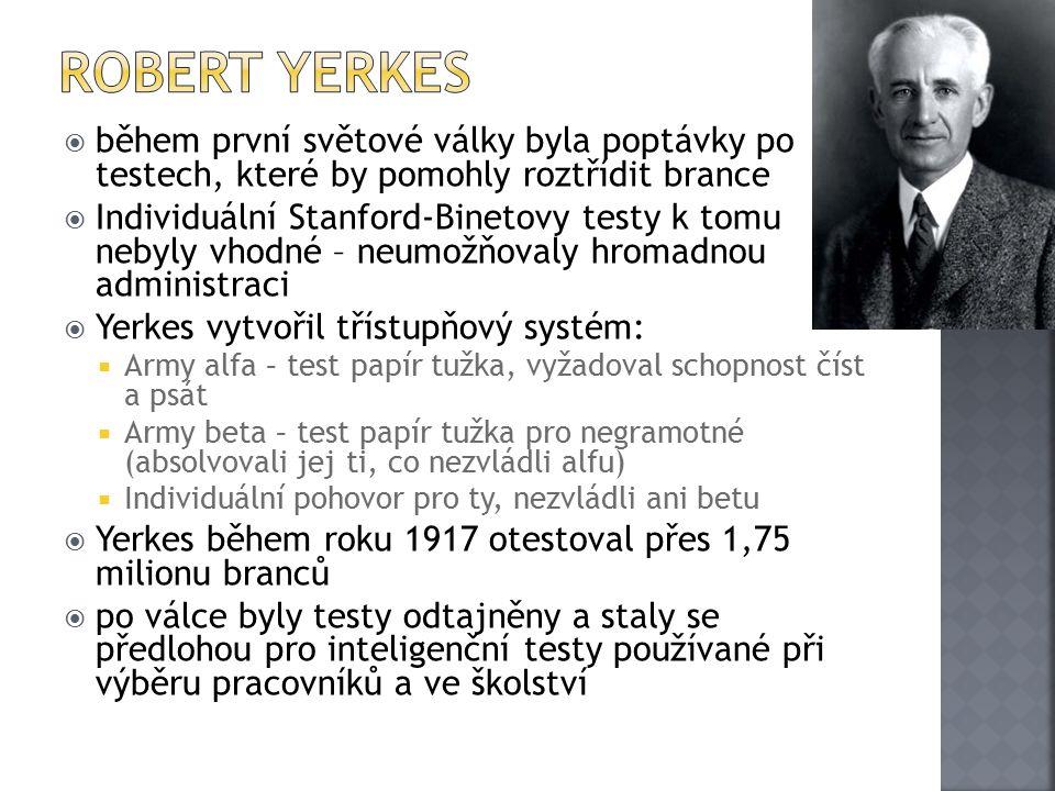Robert Yerkes během první světové války byla poptávky po testech, které by pomohly roztřídit brance.