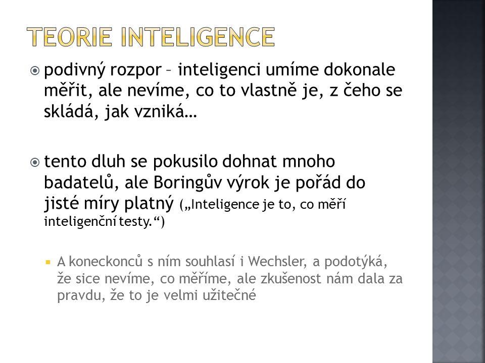Teorie inteligence podivný rozpor – inteligenci umíme dokonale měřit, ale nevíme, co to vlastně je, z čeho se skládá, jak vzniká…