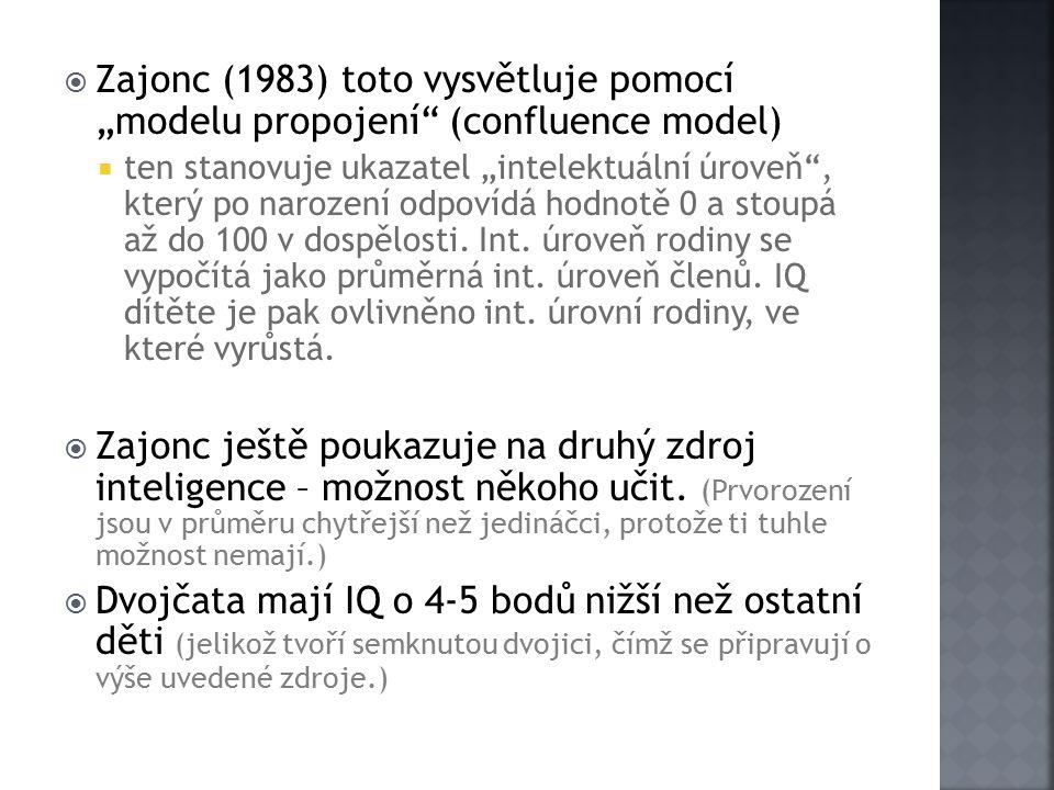 """Zajonc (1983) toto vysvětluje pomocí """"modelu propojení (confluence model)"""