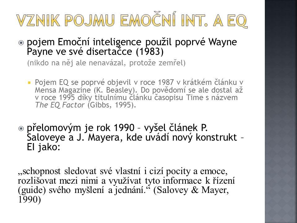 Vznik pojmu Emoční Int. A EQ