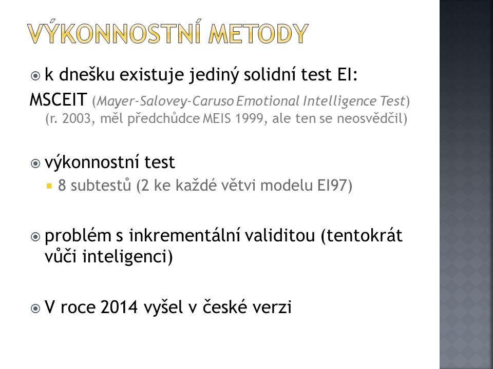 Výkonnostní metody k dnešku existuje jediný solidní test EI: