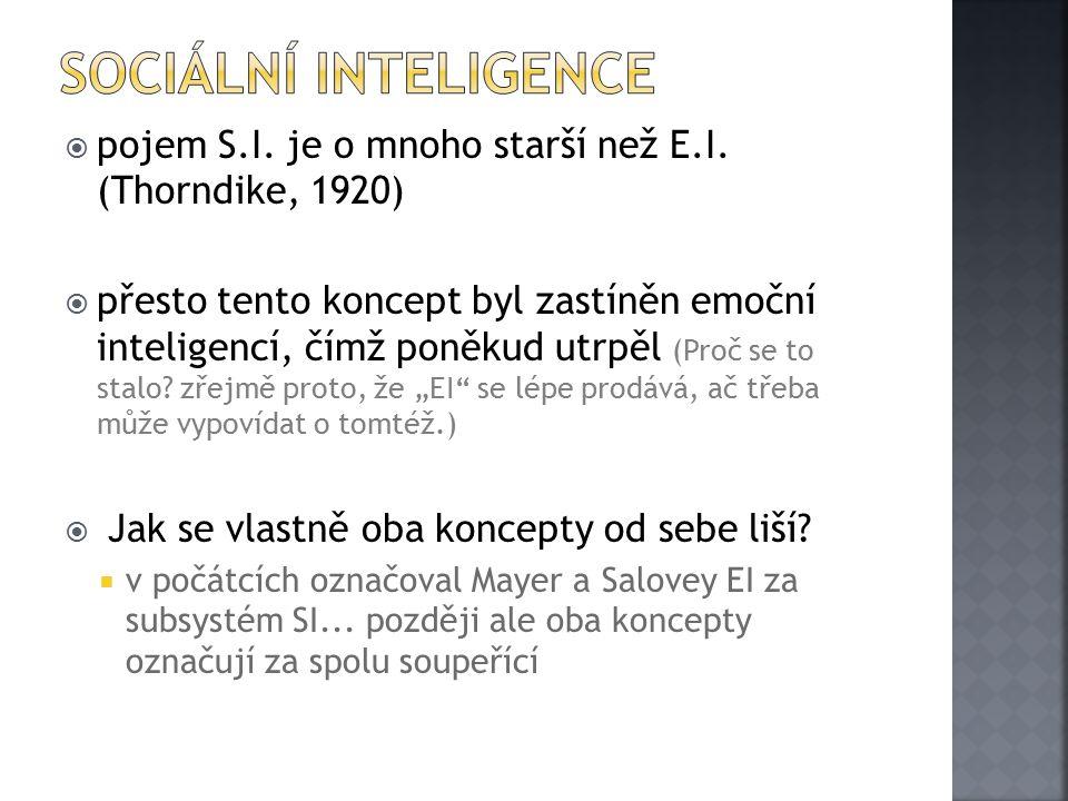 Sociální inteligence pojem S.I. je o mnoho starší než E.I. (Thorndike, 1920)