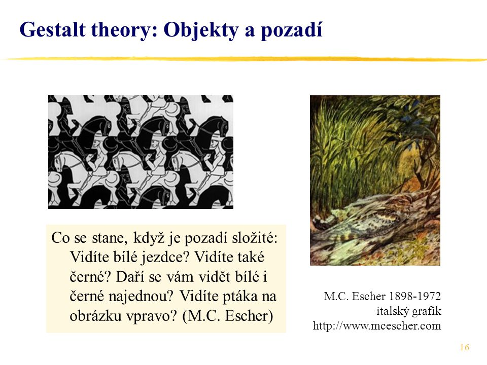 Gestalt theory: Objekty a pozadí