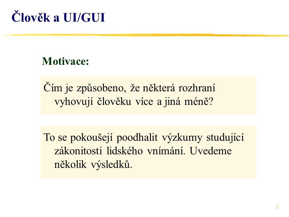 Člověk a UI/GUI Motivace: