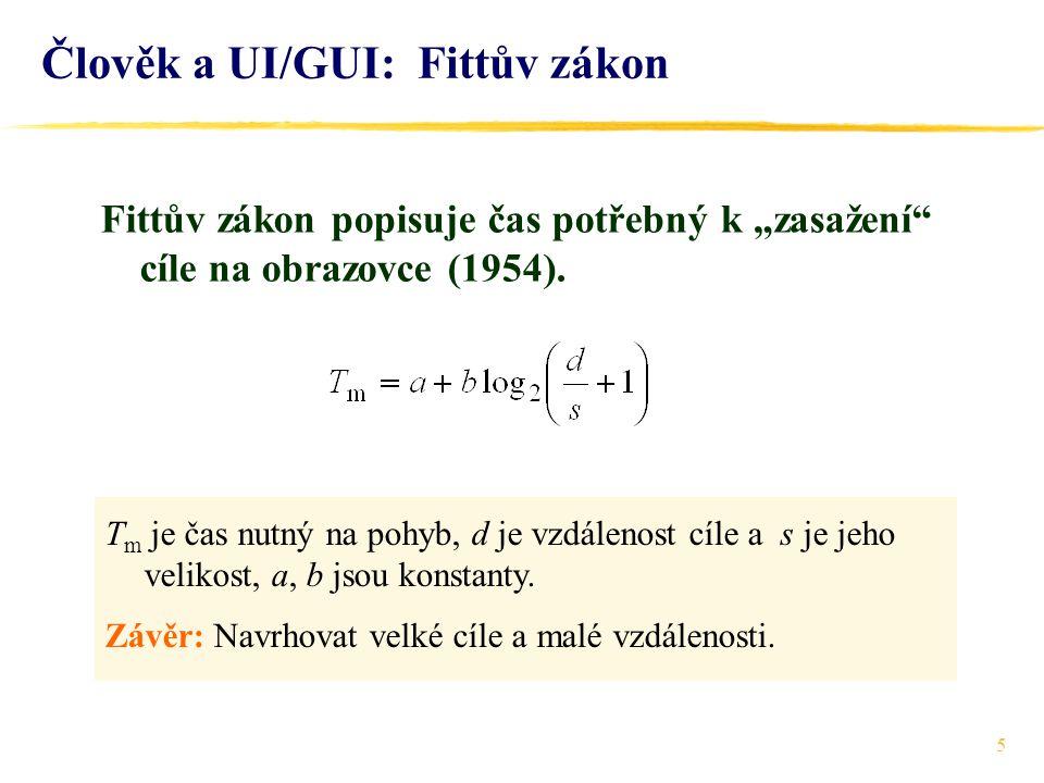 Člověk a UI/GUI: Fittův zákon