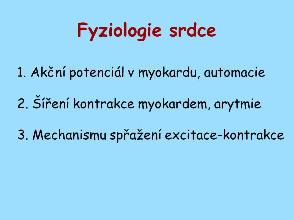 Fyziologie srdce 1. Akční potenciál v myokardu, automacie 2.