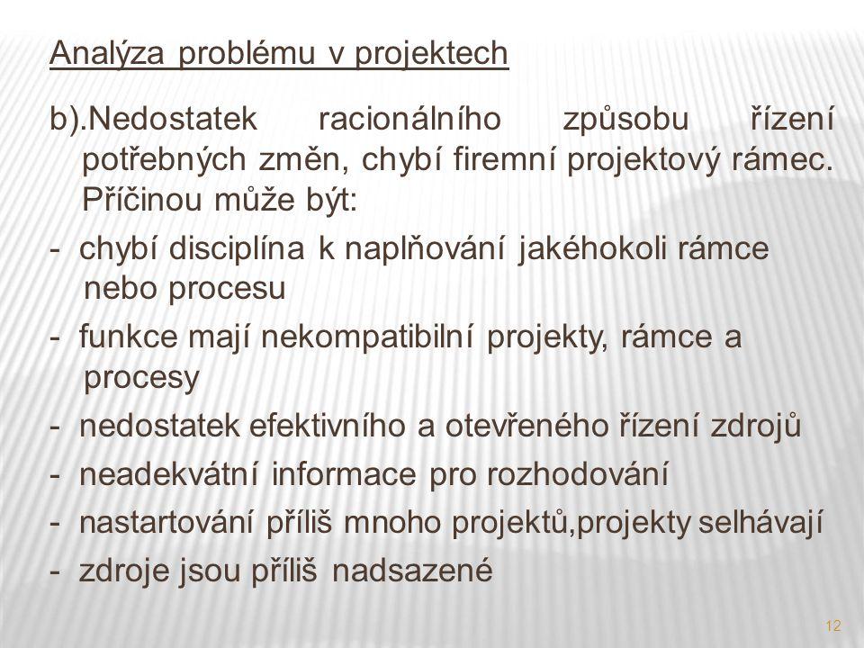 Analýza problému v projektech