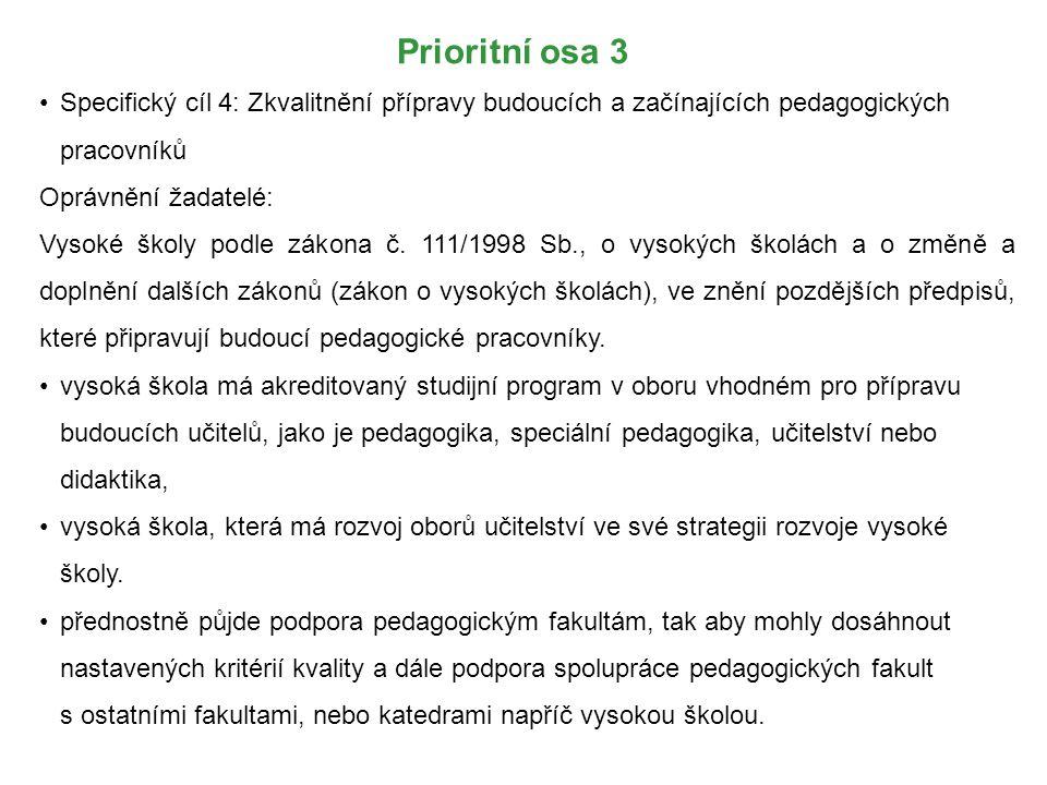 Prioritní osa 3 Specifický cíl 4: Zkvalitnění přípravy budoucích a začínajících pedagogických pracovníků.