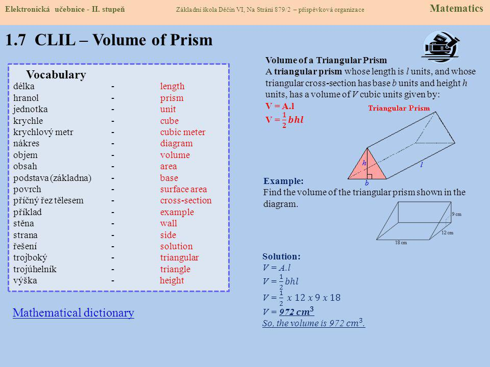 1.7 CLIL – Volume of Prism Vocabulary Mathematical dictionary