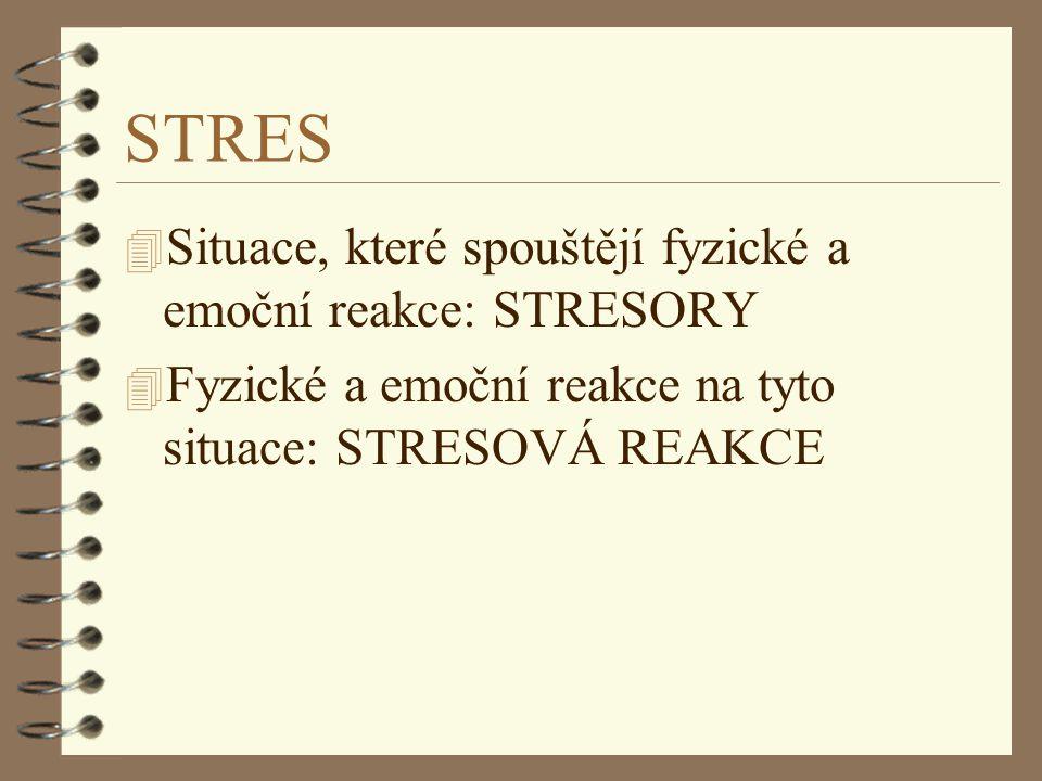 STRES Situace, které spouštějí fyzické a emoční reakce: STRESORY