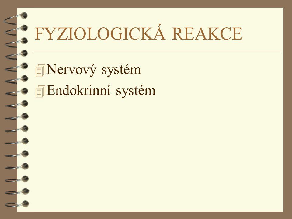 FYZIOLOGICKÁ REAKCE Nervový systém Endokrinní systém