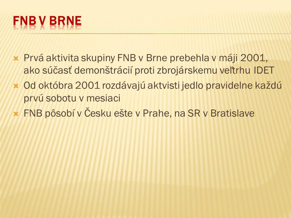 FNB v Brne Prvá aktivita skupiny FNB v Brne prebehla v máji 2001, ako súčasť demonštrácií proti zbrojárskemu veľtrhu IDET.