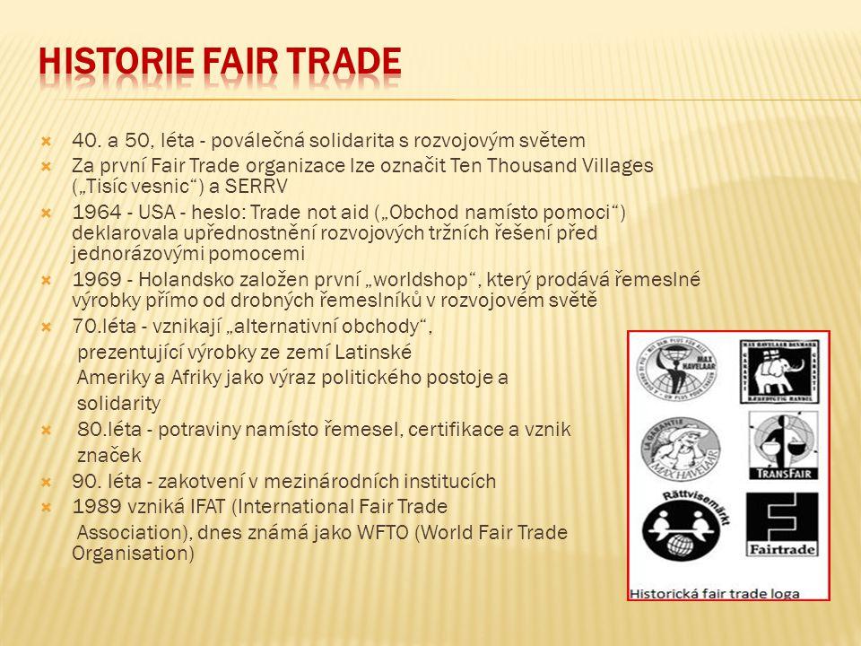 Historie Fair Trade 40. a 50, léta - poválečná solidarita s rozvojovým světem.