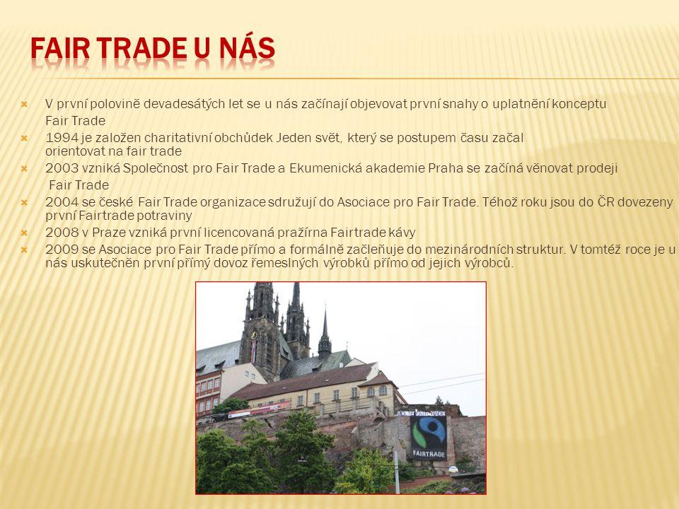 Fair Trade u nás V první polovině devadesátých let se u nás začínají objevovat první snahy o uplatnění konceptu.