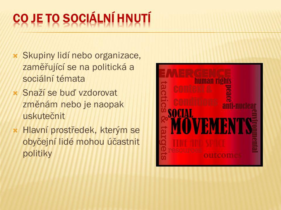 Co je to sociální hnutí Skupiny lidí nebo organizace, zaměřující se na politická a sociální témata.
