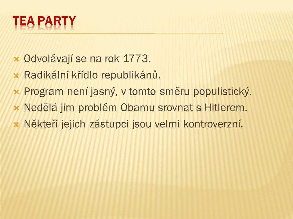 Tea Party Odvolávají se na rok 1773. Radikální křídlo republikánů.