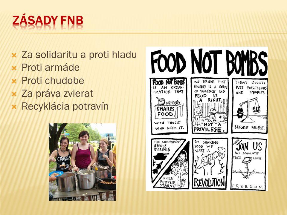 Zásady FNB Za solidaritu a proti hladu Proti armáde Proti chudobe
