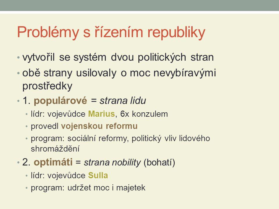 Problémy s řízením republiky