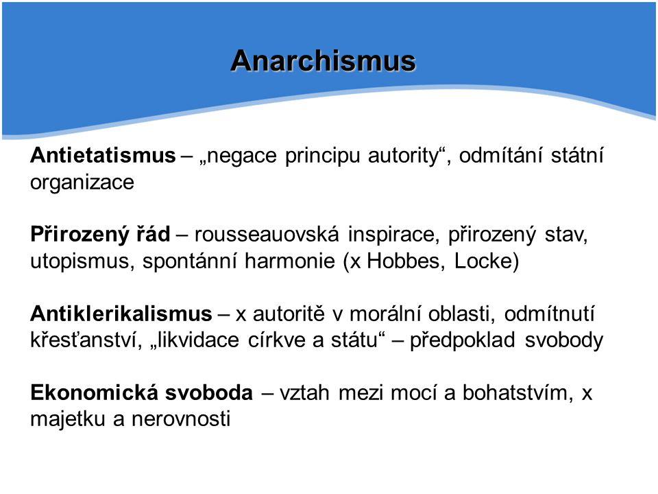 """Anarchismus Antietatismus – """"negace principu autority , odmítání státní organizace."""