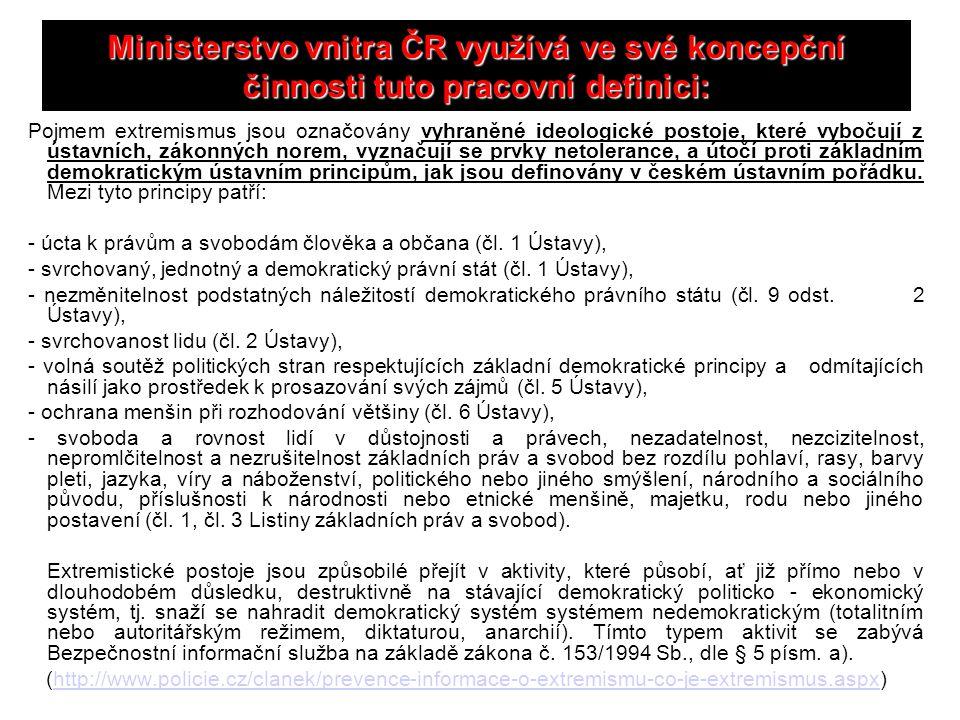 Ministerstvo vnitra ČR využívá ve své koncepční činnosti tuto pracovní definici: